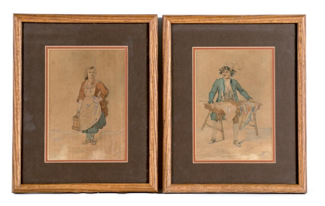 19th C. Pair of Working Class Figural Watercolors