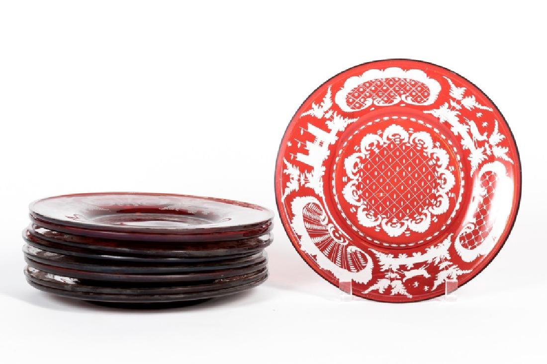 Set of 9 Bohemian Ruby Cut to Clear Plates
