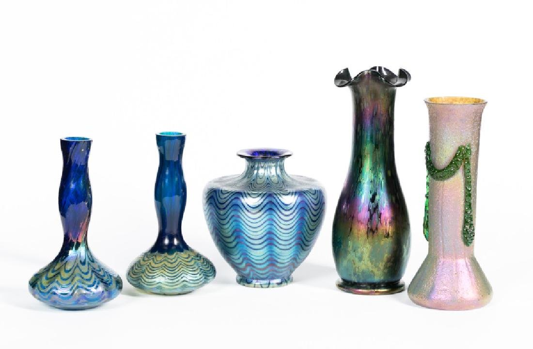 Group of Five Art Glass Vases by Loetz, Signed