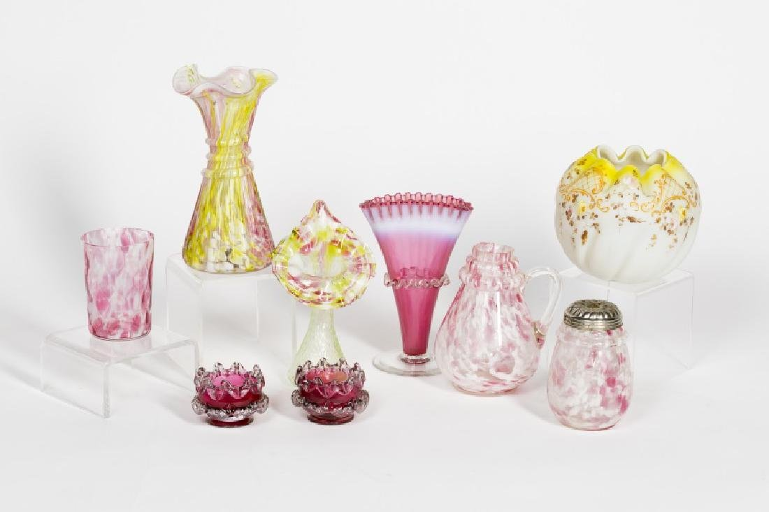 19th C. Group of 9 Art Glass Pieces, Pink & Yellow