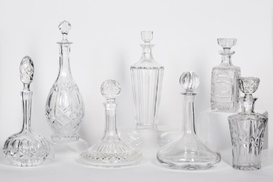 Collection of Seven Crystal Decanters, 20th C.