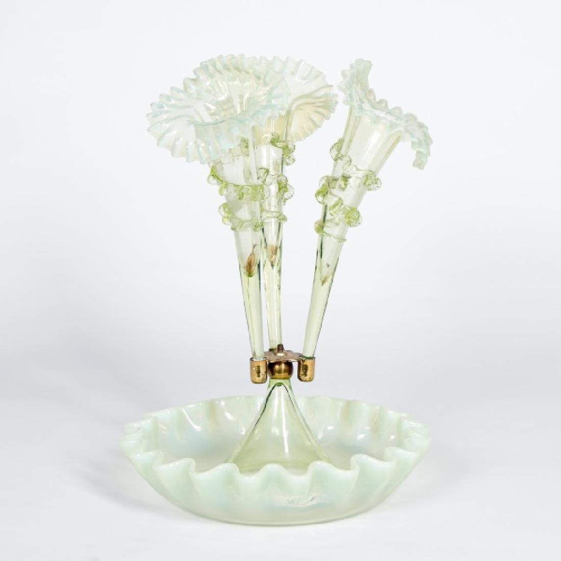 19th/20th C. Three Arm Blown Glass Epergne