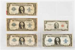 4 US $1 Paper Currency Silver Certificates & US $2