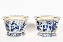 Pair, Octagonal Chinese Blue & White Planters
