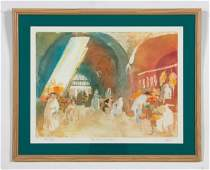 William Papas Aquatint  The Souk  Jerusalem
