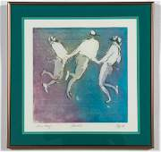 William Papas Pencil Signed Aquatint Dancers