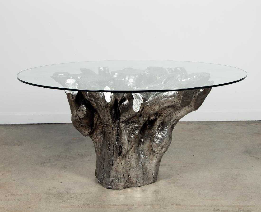 Silvered Tree Trunk Glass Top Dining Table 60 Quot