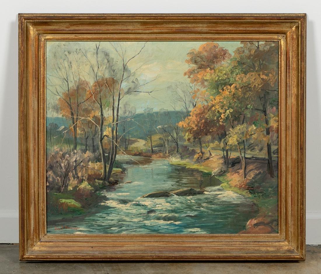 John Berninger Signed Oil, Autumn Riverscape