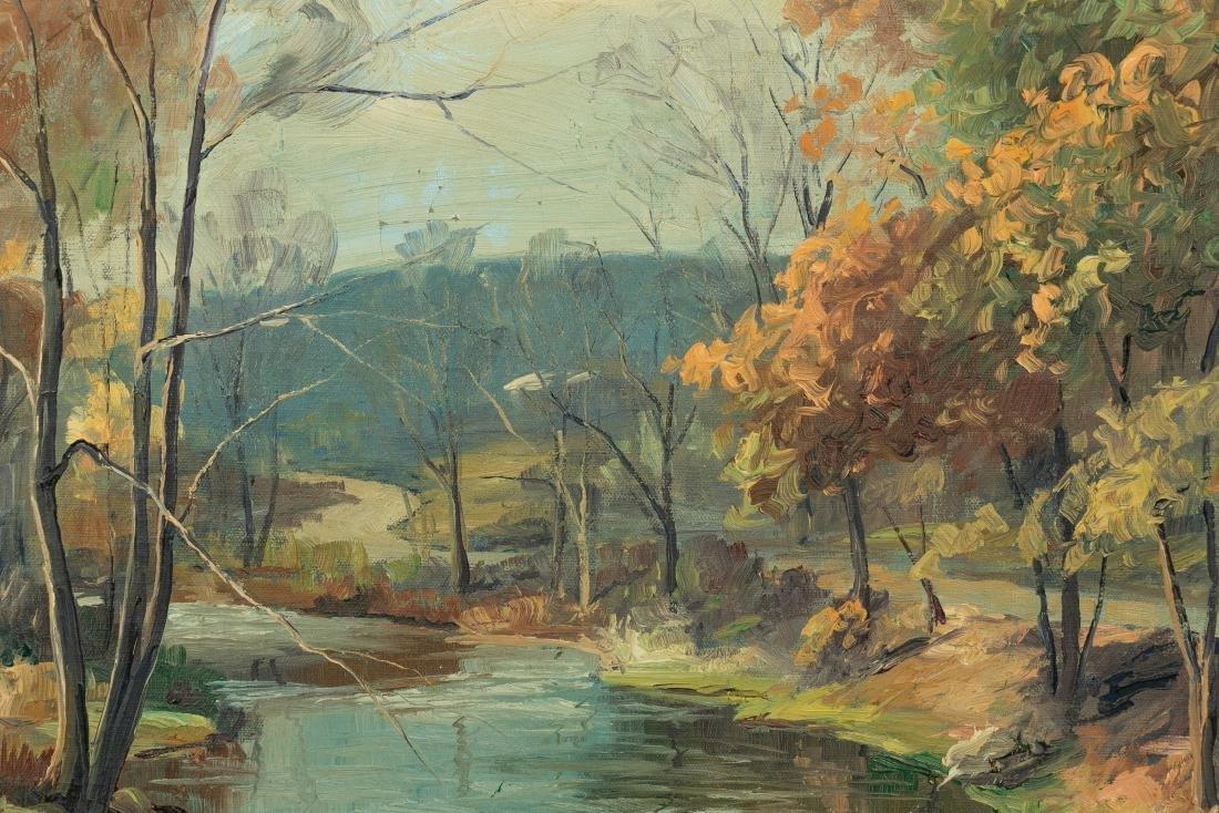 John Berninger Signed Oil, Autumn Riverscape - 3