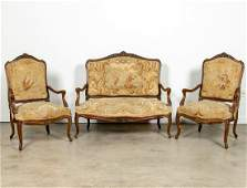 3 Piece Louis XV Style Aubusson Settee  Chairs