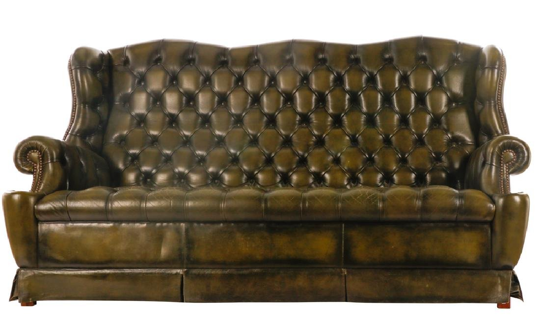 Triple Back Winged Tufted Leather Sofa