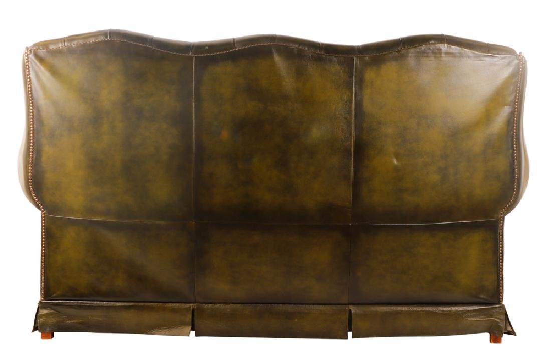 Triple Back Winged Tufted Leather Sofa - 2