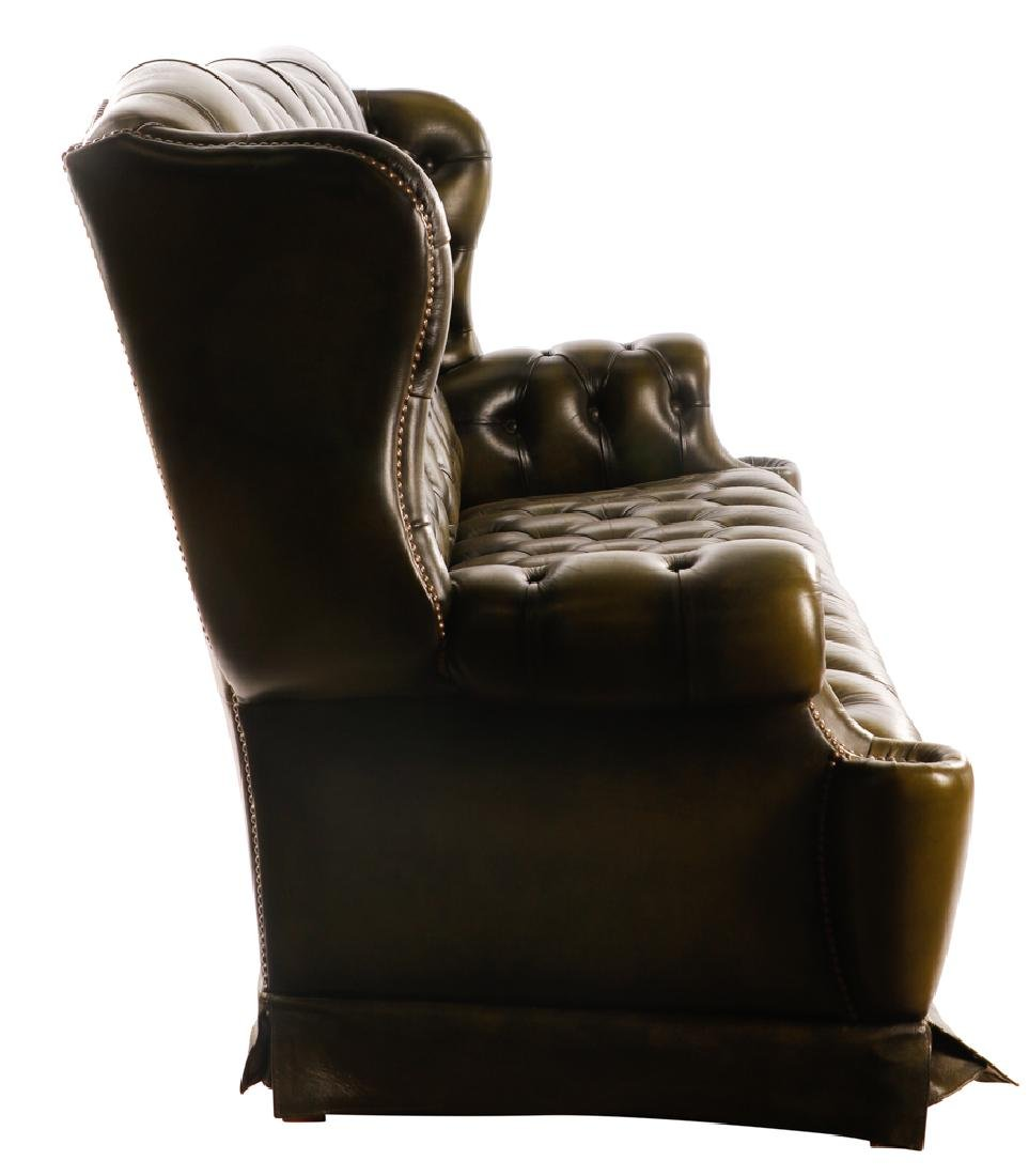 Triple Back Winged Tufted Leather Sofa - 3