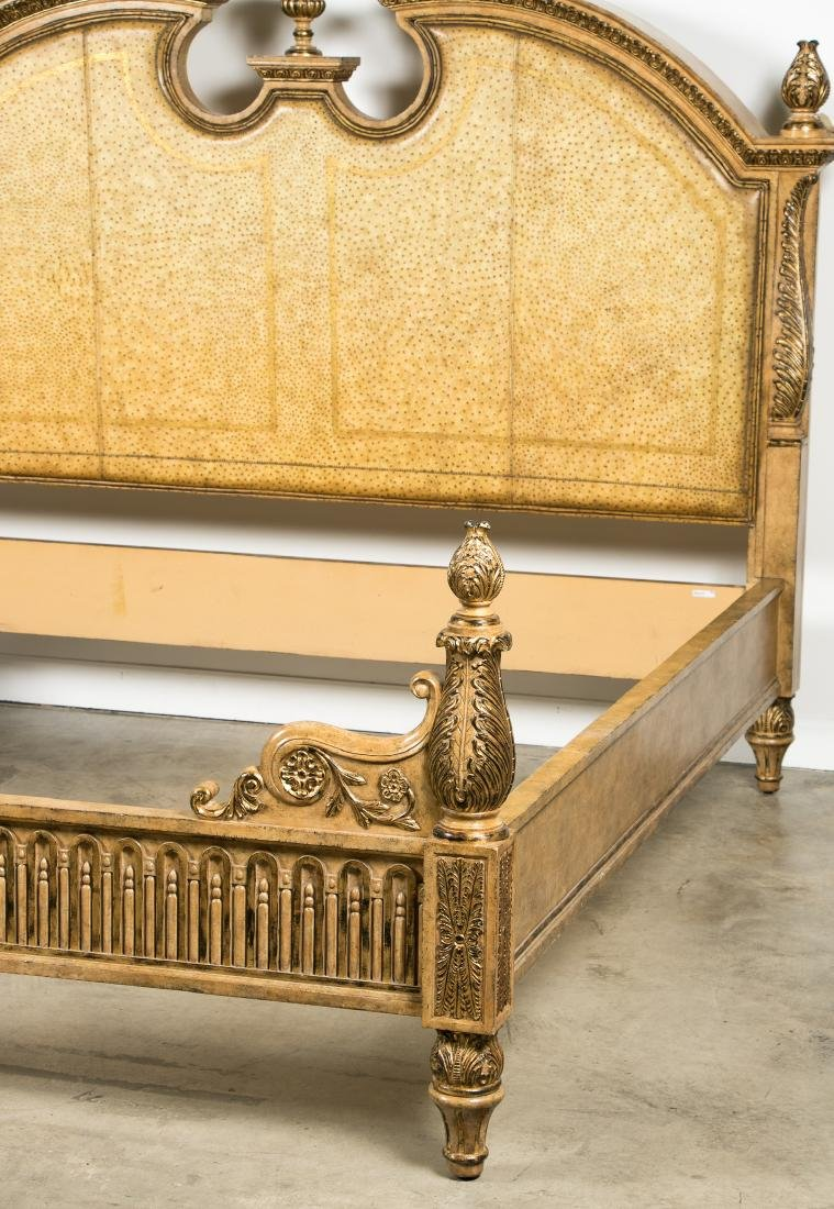 Maitland Smith Louis XVI Style Faux Ostrich Bed - 2