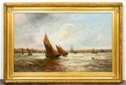 Edwin Hayes Oil on Canvas Irish Maritime Scene