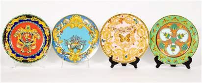 Four Versace Porcelain Charger Plates