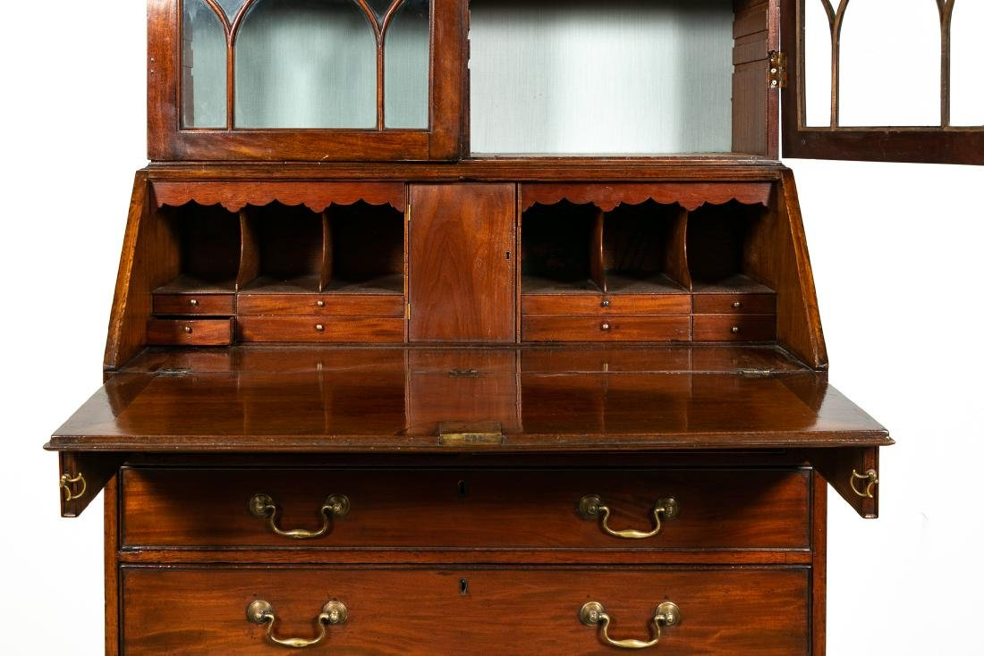 George III Style Mahogany Secretary, Pierced Crest - 3