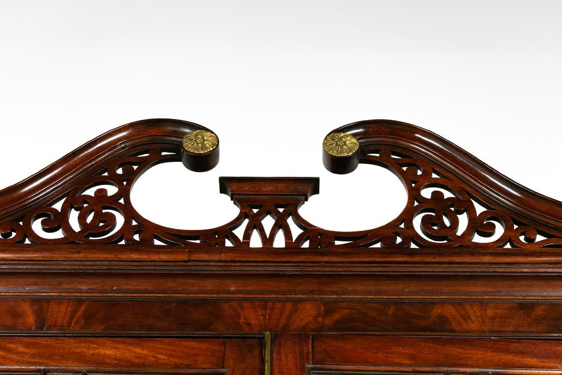 George III Style Mahogany Secretary, Pierced Crest - 5