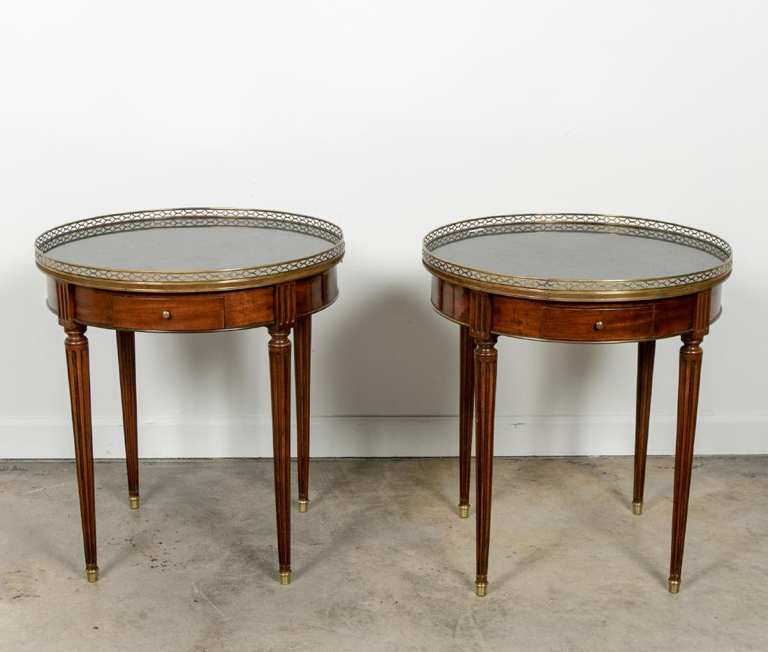 Pair, Directoire Granite Inset Round Side Tables