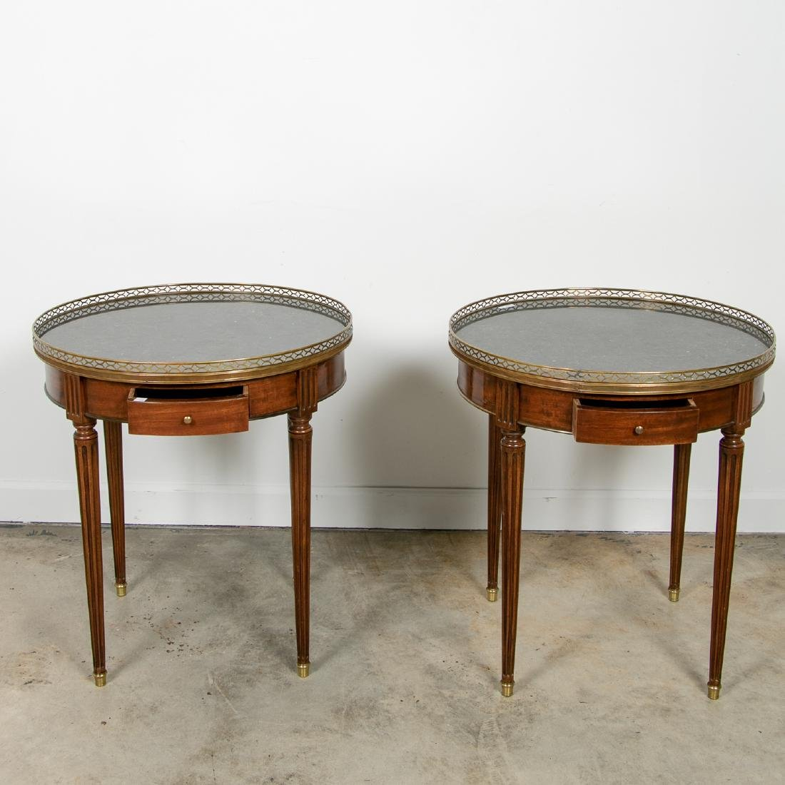 Pair, Directoire Granite Inset Round Side Tables - 2