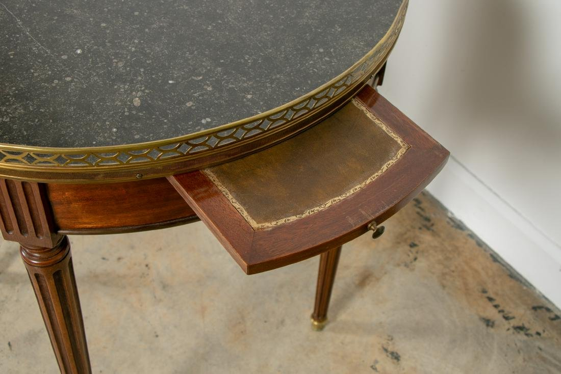 Pair, Directoire Granite Inset Round Side Tables - 4