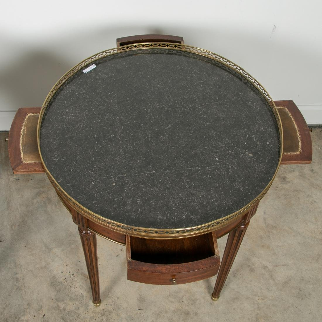 Pair, Directoire Granite Inset Round Side Tables - 6