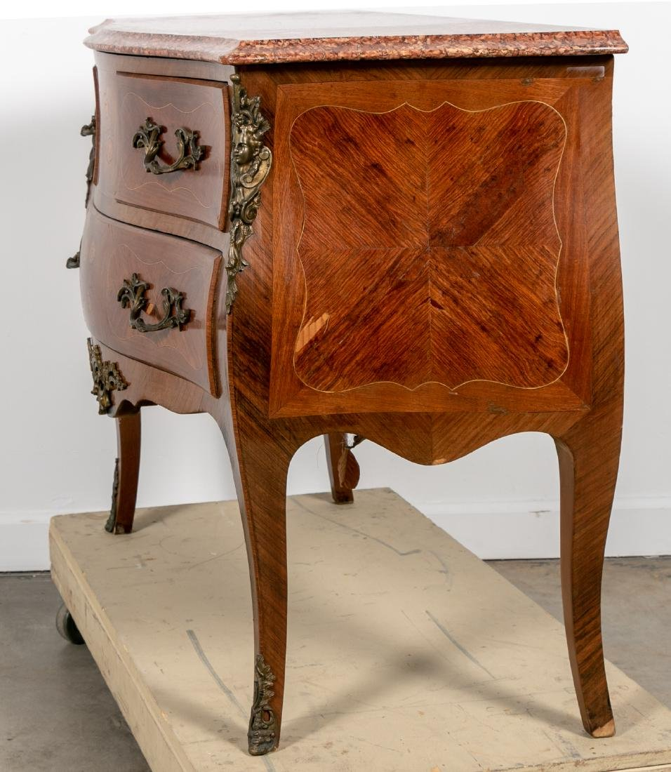 French Louis XV Style Marble Top Bombe Commode - 4