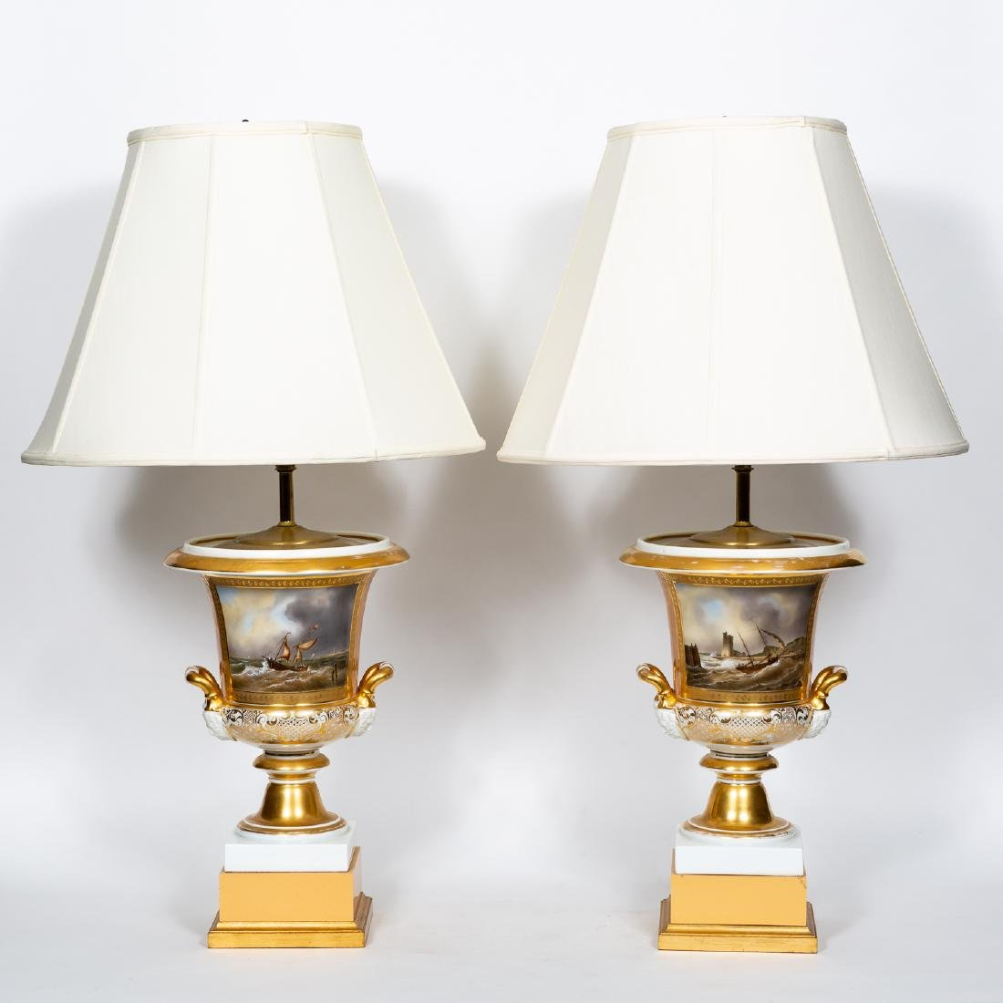 Pair, Exceptional Old Paris Porcelain Lamps, Seascape
