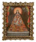 Spanish Colonial Style Retablo, Madonna & Child