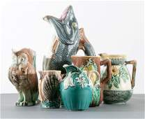Group of 6 Majolica Handled Pitchers 19th C