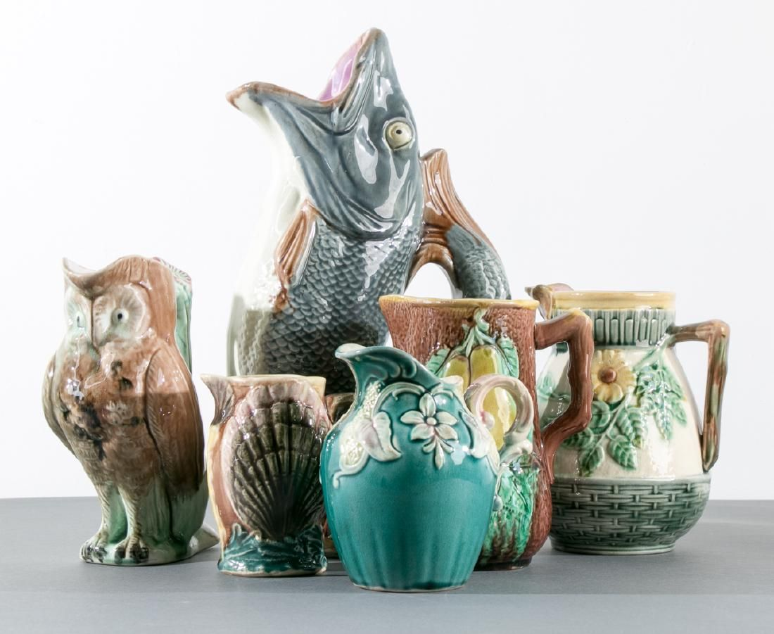 Group of 6 Majolica Handled Pitchers, 19th C.