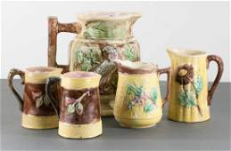 Group of 5 Majolica Glazed Ceramic Pitchers