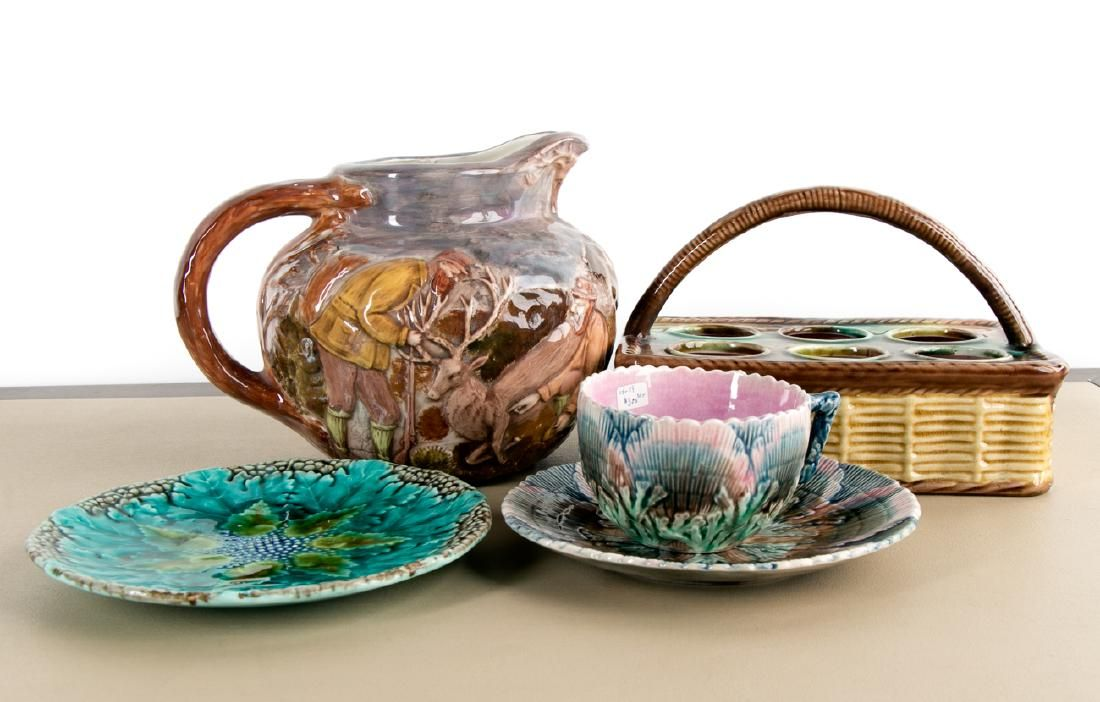 Group of 5 Majolica Glazed Ceramic Pieces, 19th C