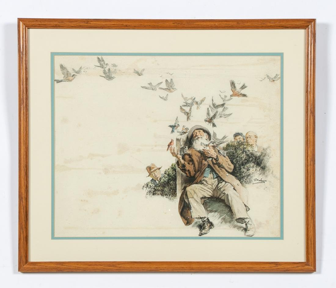 E. F. Ward Illustration, Man Feeding Birds