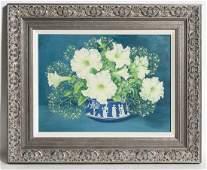 Marjorie E.G. Swinson Oil on Board, White Flowers