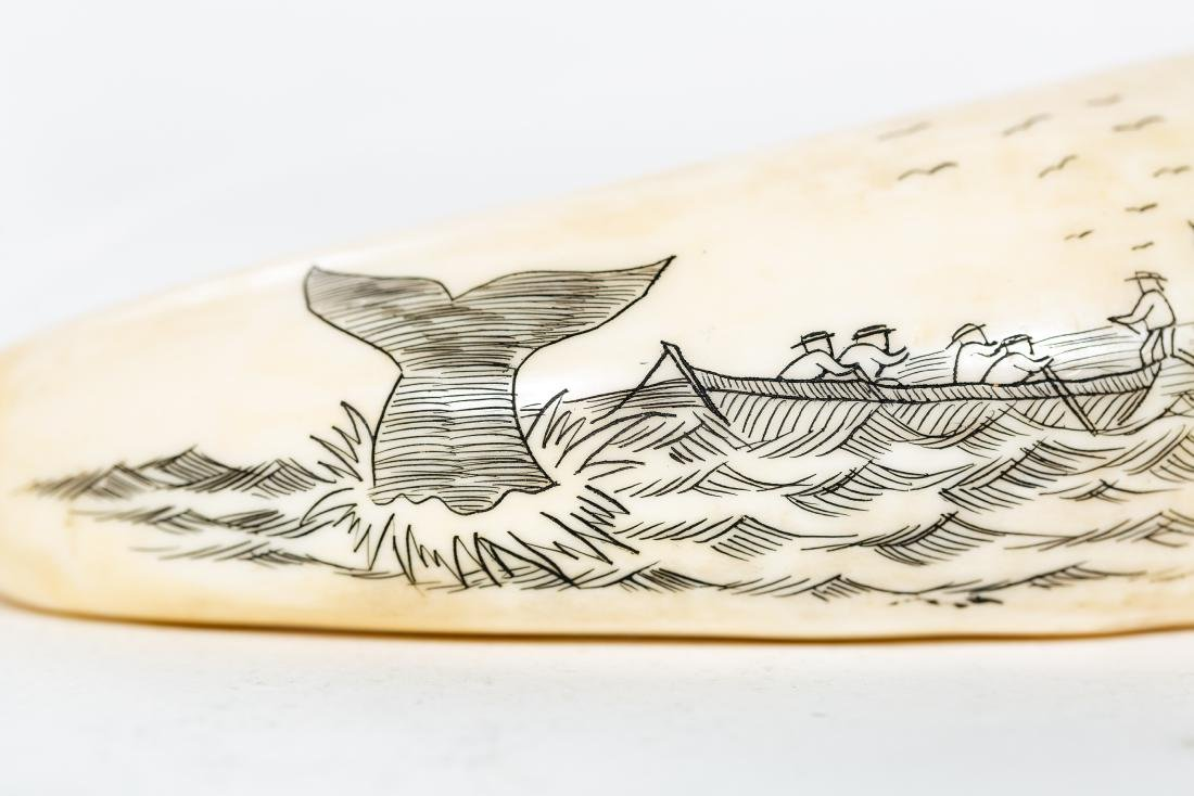 Two Carved Scrimshaws, Maritime Scenes - 4