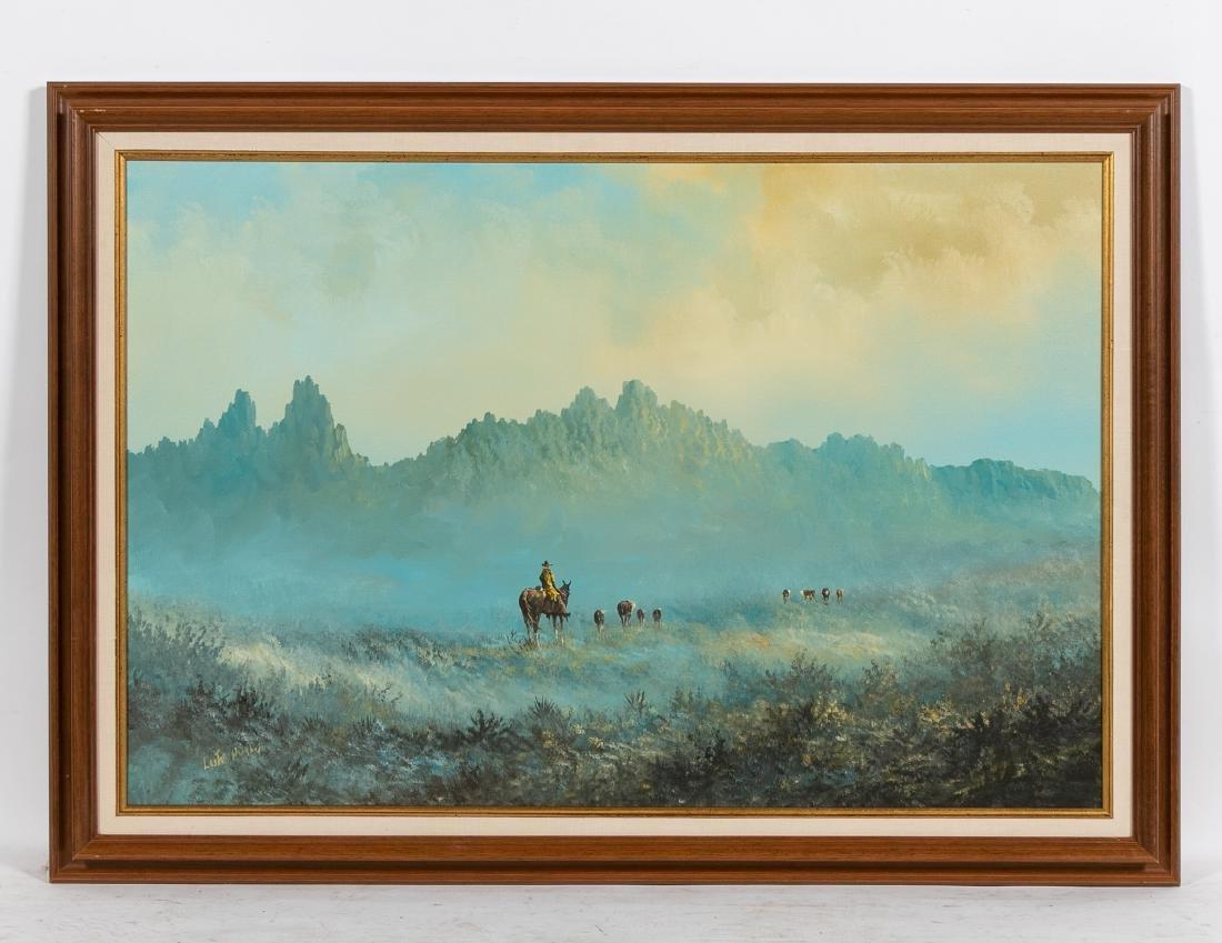 Lester Hughes Signed Landscape with Cowboy