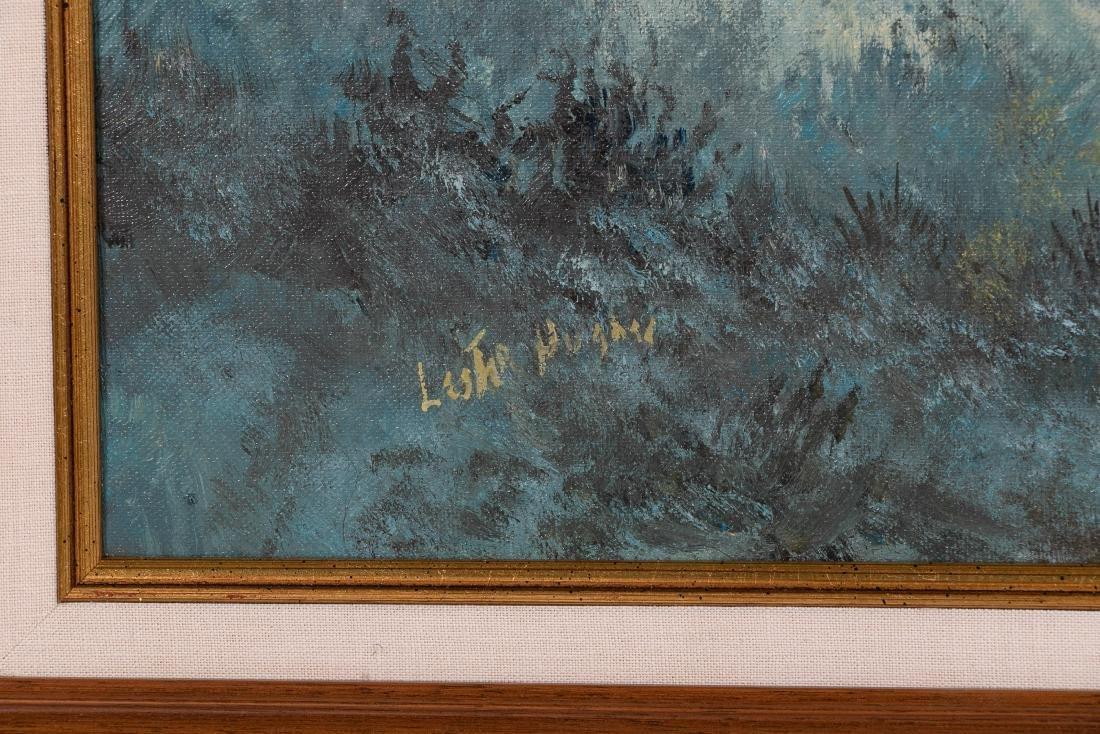 Lester Hughes Signed Landscape with Cowboy - 2
