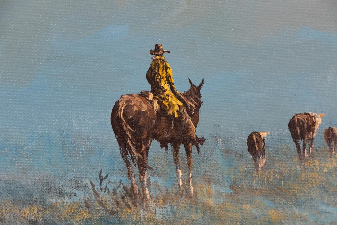 Lester Hughes Signed Landscape with Cowboy - 3