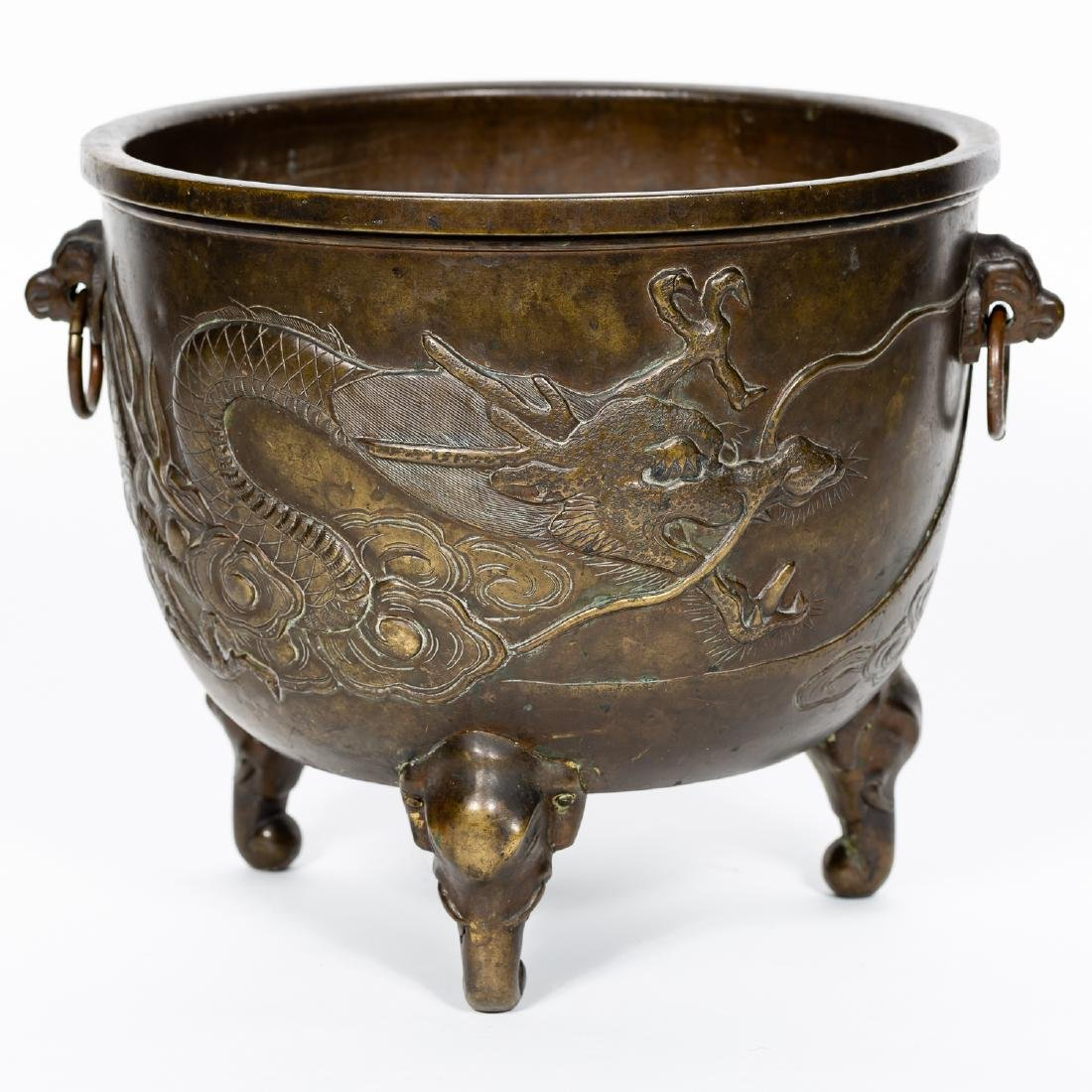 Japanese Footed Dragon Bronze Planter