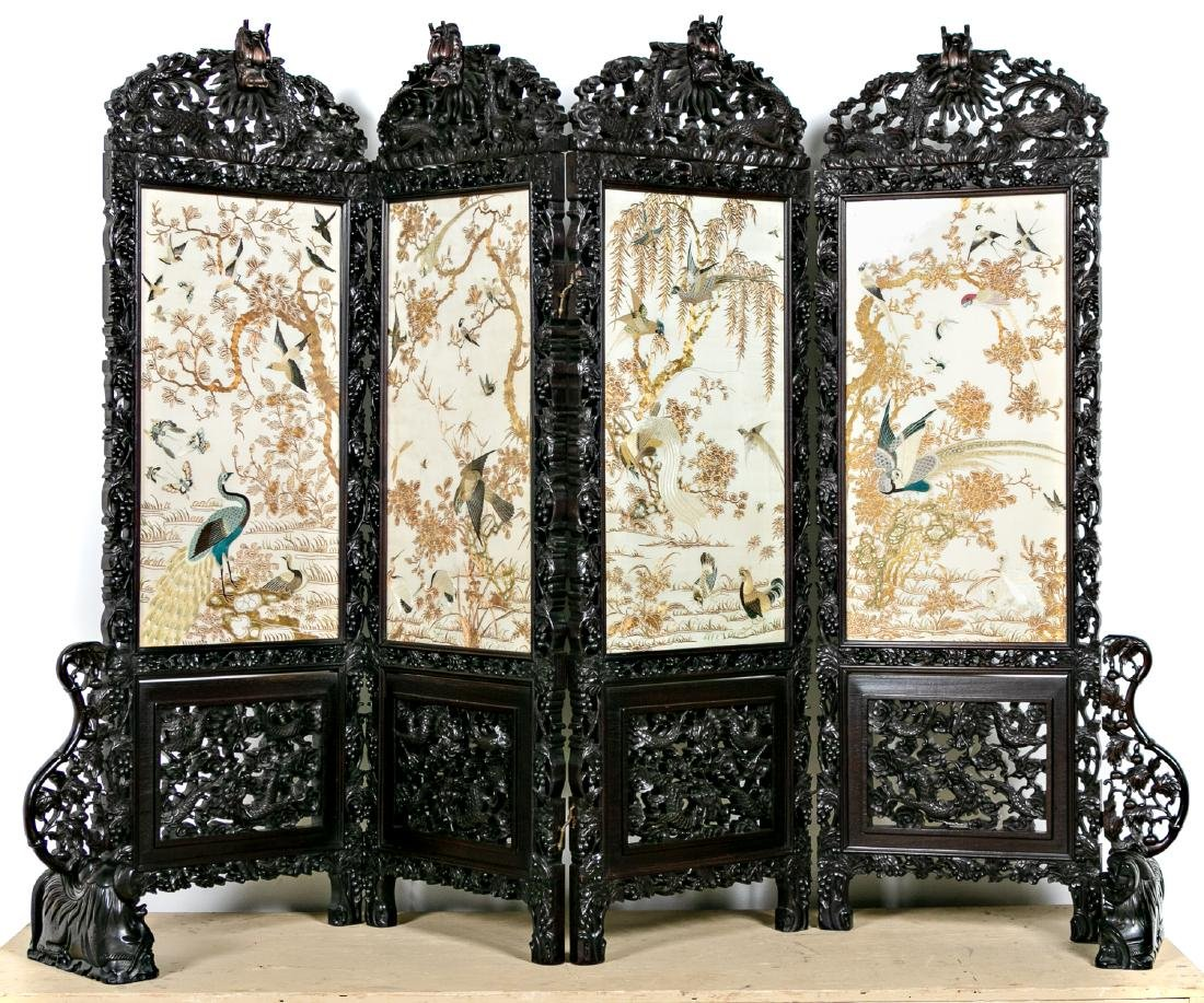Chinese Carved Rosewood Screen, Embroidered