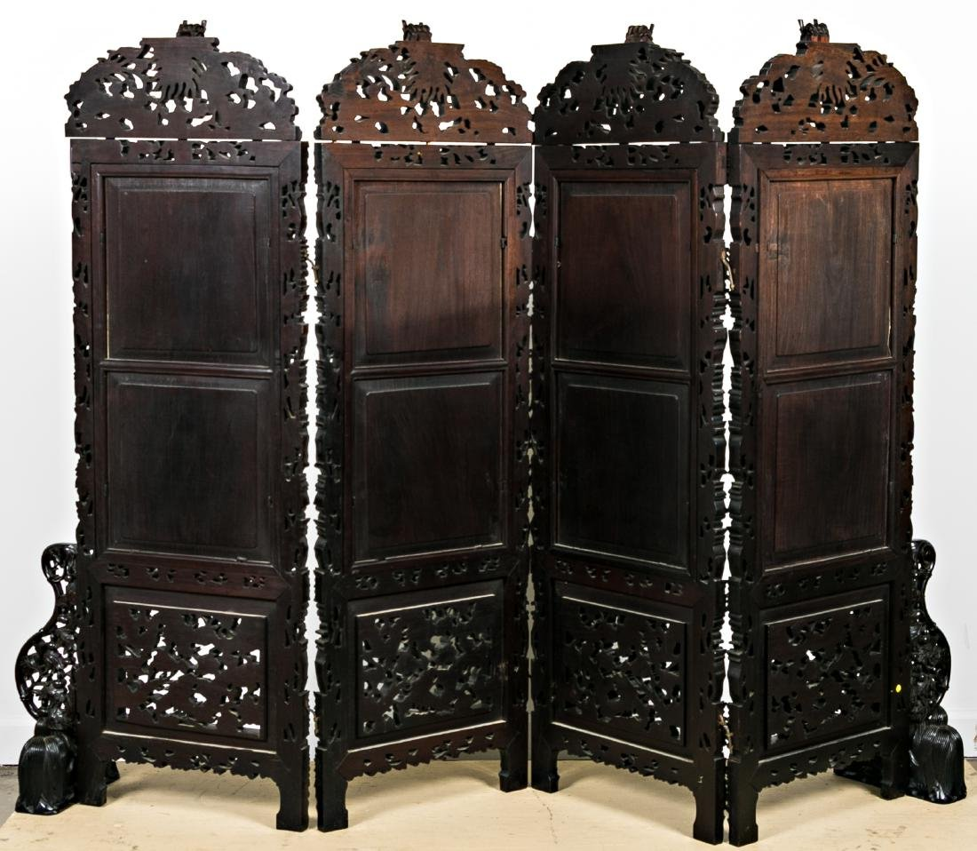 Chinese Carved Rosewood Screen, Embroidered - 2