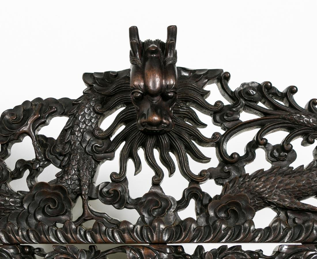 Chinese Carved Rosewood Screen, Embroidered - 3