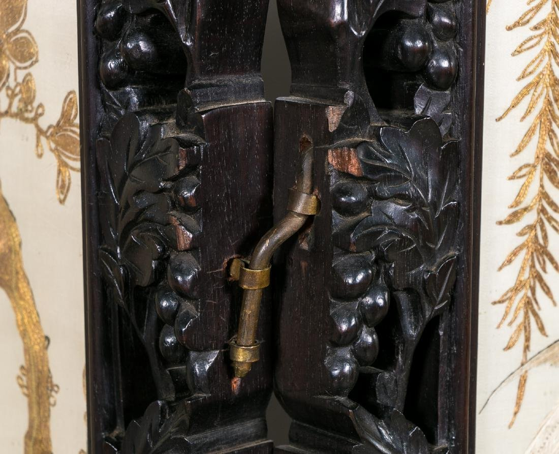 Chinese Carved Rosewood Screen, Embroidered - 9