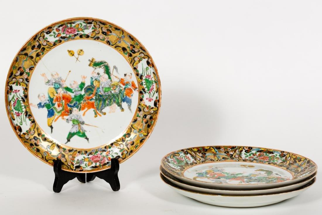 Set, 4 Chinese Export Porcelain Plates, Warriors