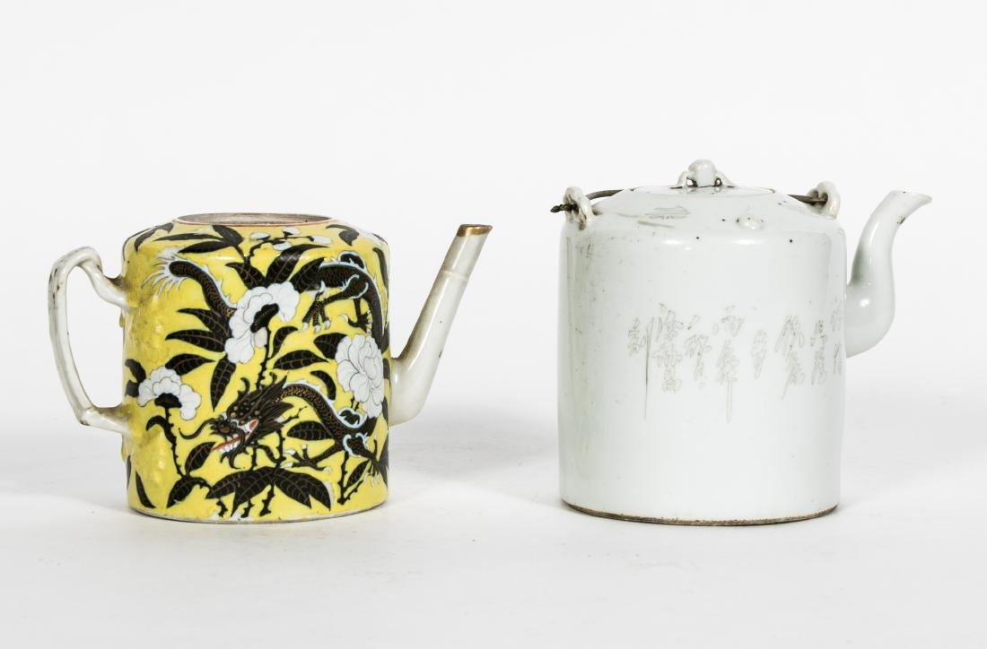 Two Chinese Export Tea Pots, One w/ Lid
