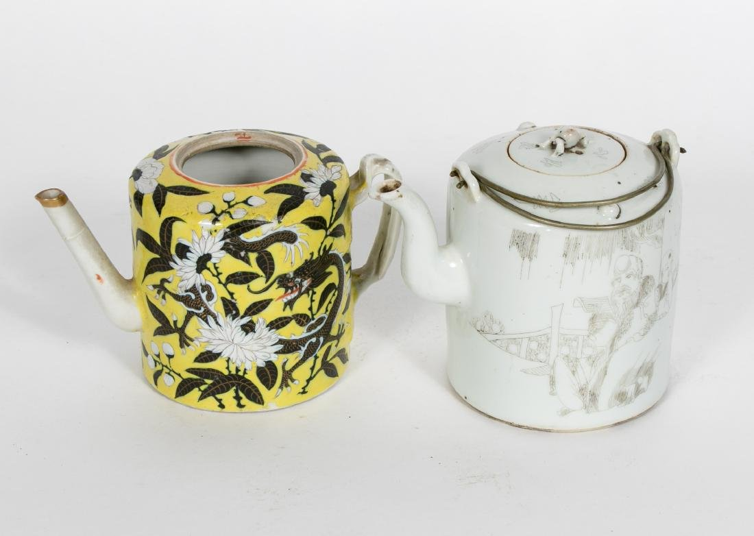 Two Chinese Export Tea Pots, One w/ Lid - 2