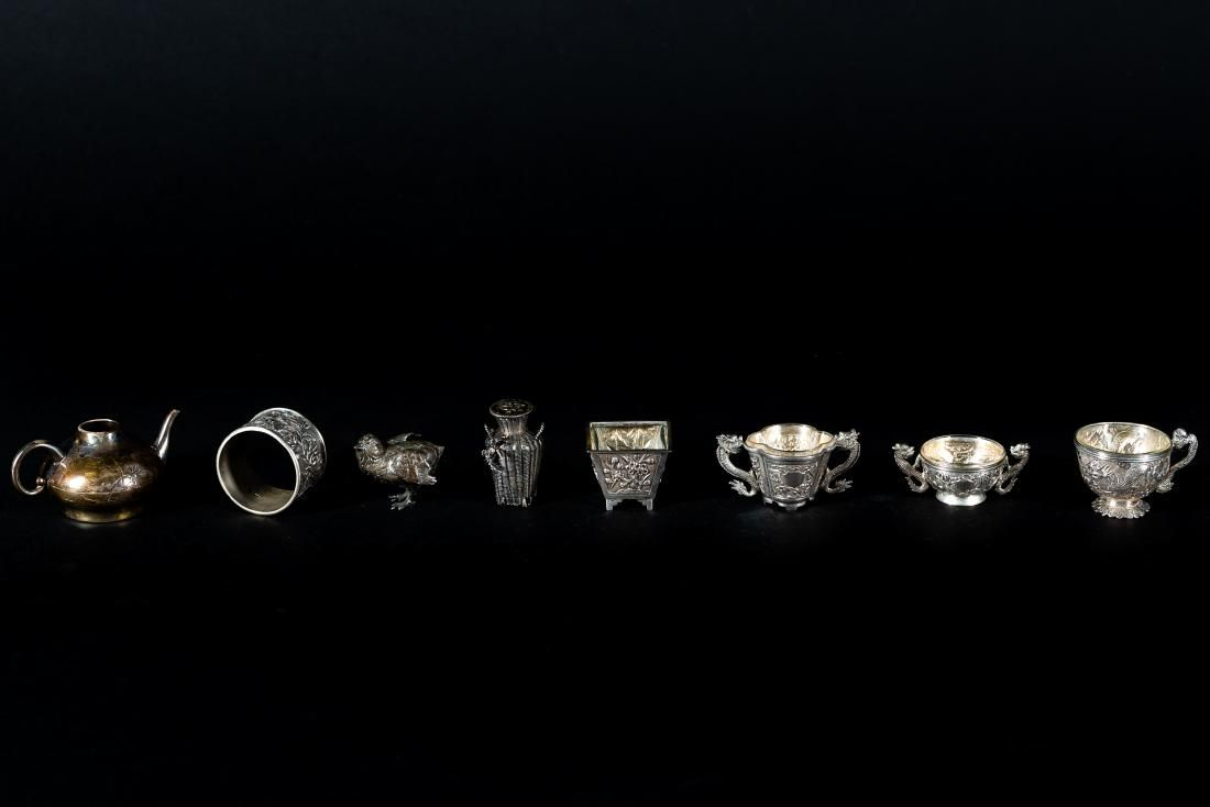 Chinese Export Silver Miniatures, 8 pcs