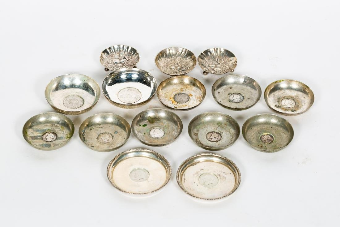 15 PC Silver Group, Small Dishes, Some w/ Coins