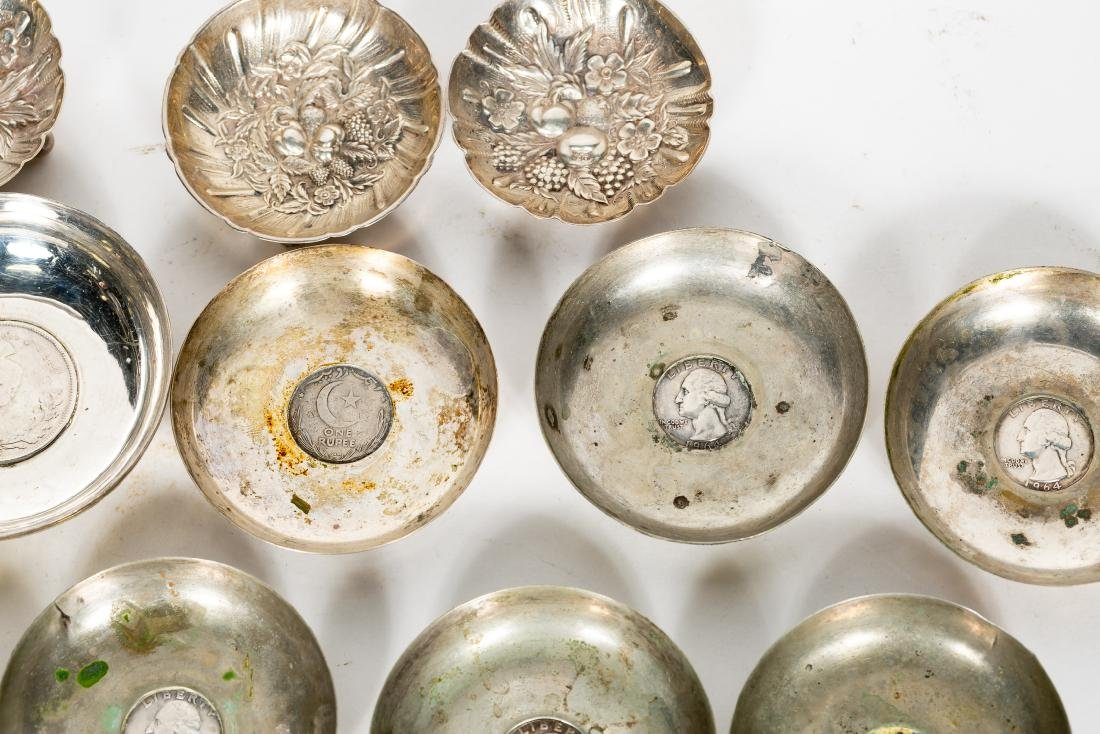 15 PC Silver Group, Small Dishes, Some w/ Coins - 3